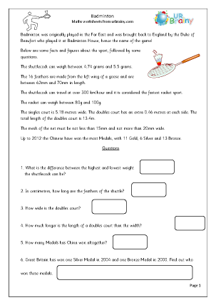 Badminton Sport Maths Worksheets For Further Resources