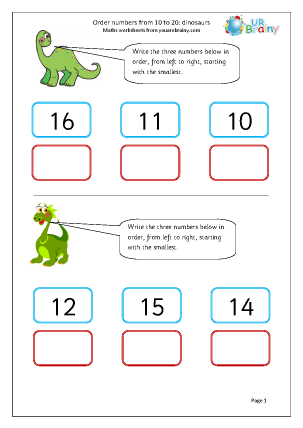 order numbers up to 20 dinosaurs ordering numbers maths worksheets for year 1 age 5 6. Black Bedroom Furniture Sets. Home Design Ideas