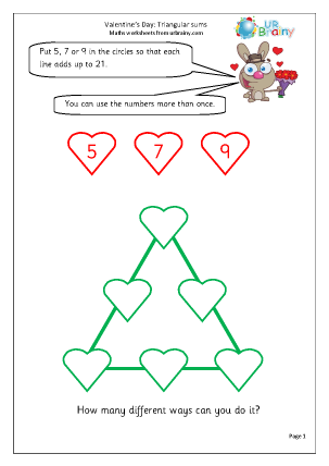 Preview of worksheet Valentine's Day: triangular sums