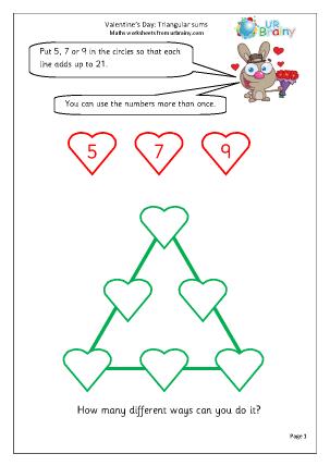 Valentine's Day: triangular sums