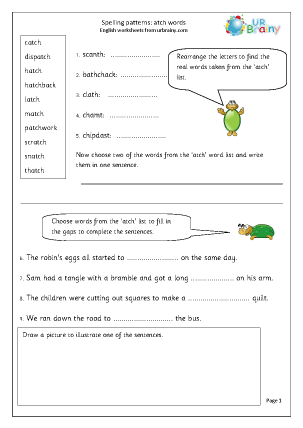 Preview of worksheet  atch words
