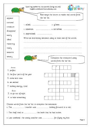 Preview of worksheet  ea words