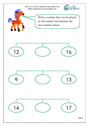 Preview of worksheet Write a number between two others (1)