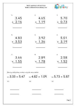 math worksheet : more written addition of decimals addition maths worksheets for  : Decimal Worksheets For Grade 5