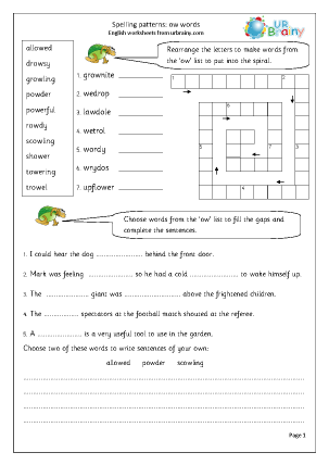 Preview of worksheet  ow words