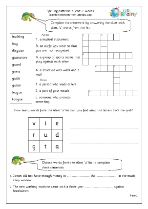 Preview of worksheet  Silent u words