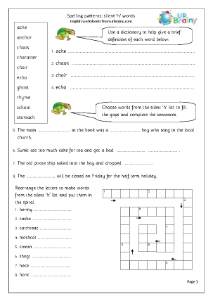Preview of worksheet  Silent h words