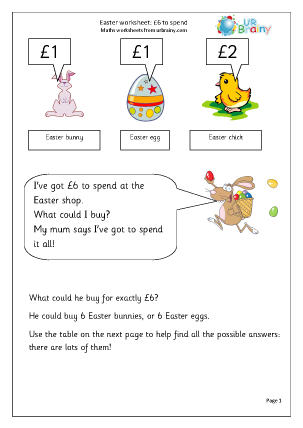 Preview of worksheet Easter: £6 to spend