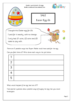 Preview of worksheet Easter: £6 egg