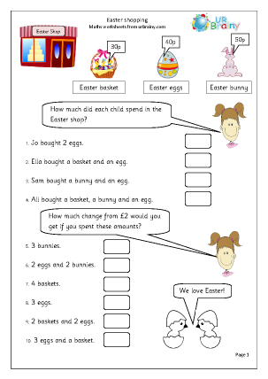 Preview of worksheet Easter: shopping