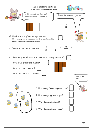 Preview of worksheet Easter: chocolate fractions