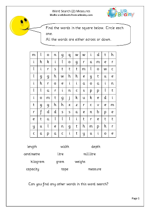 Preview of worksheet Year 2 Measures Wordsearch