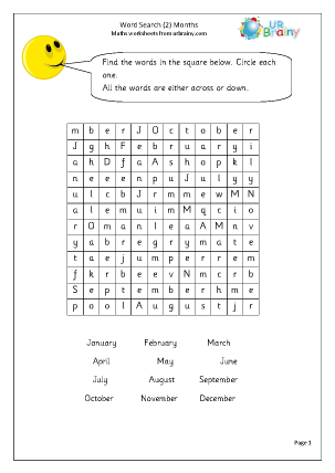Year 2 Months Wordsearch Wet Break/Holiday Activities Maths Worksheets ...
