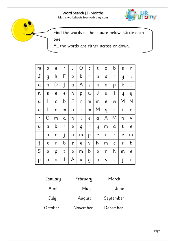 Preview of 'Year 2 months wordsearch'