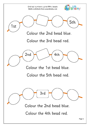 Preview of worksheet Order from 1st to 5th: beads