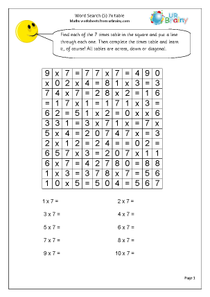 7x table Number search Wet Break/Holiday Activities Maths Worksheets ...