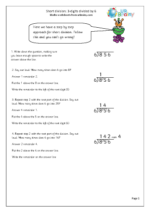 Preview of worksheet  Divide  3-digit numbers by 6