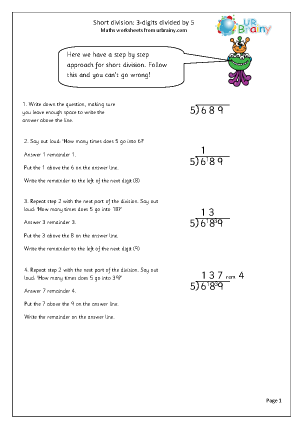 Preview of worksheet  Divide 3-digit numbers by 5