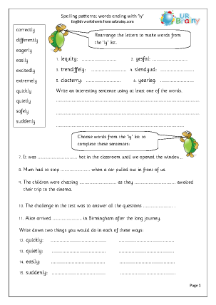 Printables Words Ending In Tion Worksheet word endings english worksheets for middleupper primary spelling ly endings