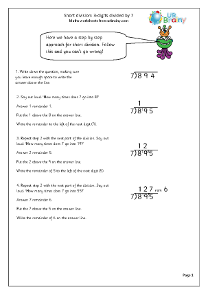 Preview of worksheet  Divide  3-digit numbers by 7