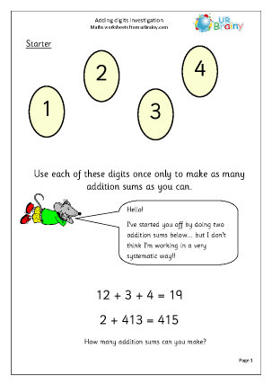 Preview of worksheet Adding digits