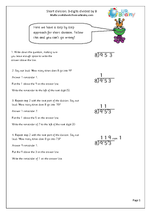 Preview of worksheet  Divide  3-digit numbers by 8