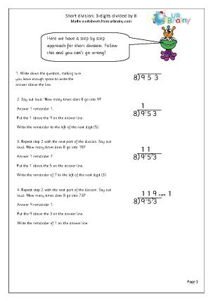Divide  3-digit numbers by 8