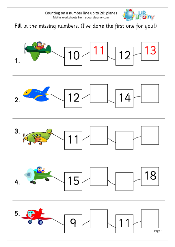 Missing Numbers Up To 20: Planes - Ordering Numbers By URBrainy.com