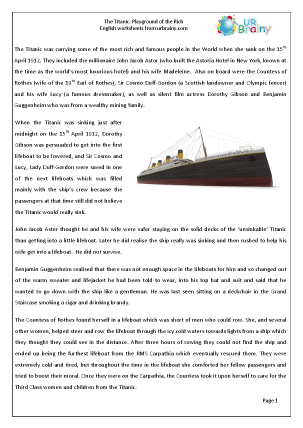 Preview of worksheet Titanic: Playground of the rich