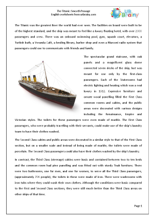 Preview of worksheet Titanic: Smooth passage