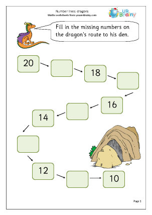 Missing Numbers up to 20 Dragons Ordering Numbers Maths Worksheets For ...