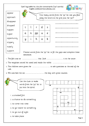 Preview of worksheet  double consonant pp words