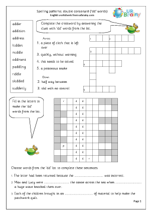 Double Consonants English Worksheets for Middle/Upper Primary Spelling