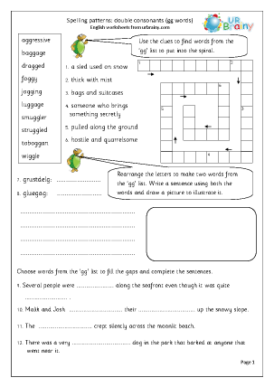 Preview of worksheet double consonant gg words