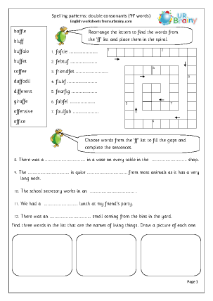 Preview of worksheet double consonant ff words