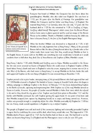 Preview of worksheet Empress Matilda