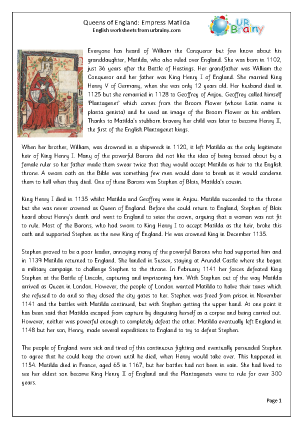 Preview of worksheet Queens of England: Empress Matilda