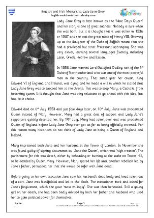 Preview of worksheet Lady Jane Grey