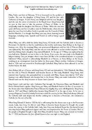 Preview of worksheet Mary Tudor (1)