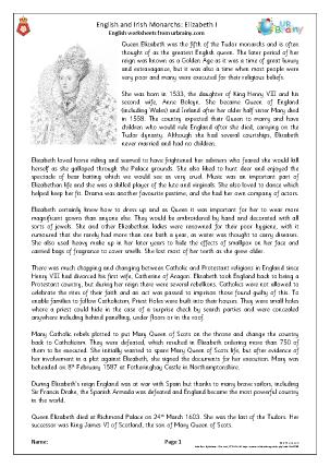 Preview of worksheet Elizabeth I