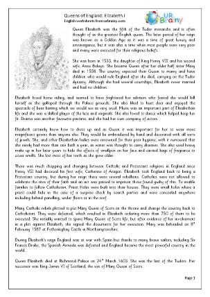 Preview of worksheet Queens of England: Elizabeth I