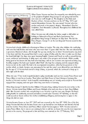 Preview of worksheet  Queens of England: Victoria (1)