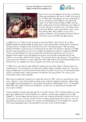 Preview of worksheet  Queens of England: Victoria (2)