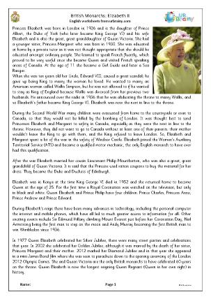 Preview of worksheet Elizabeth II