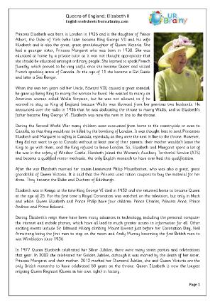 Preview of worksheet  Queens of England: Elizabeth II