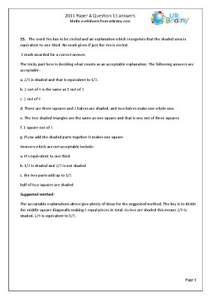 Question 15  Answers Paper A 2011