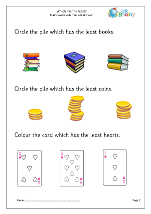Preview of worksheet Which has the least?