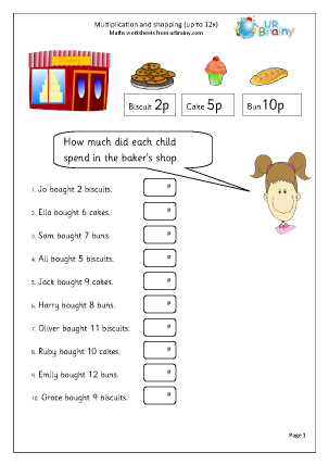 Preview of worksheet Multiplication and shopping up to 12x