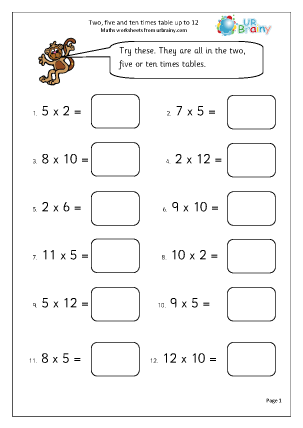 12 times table worksheet ~ Irade.co
