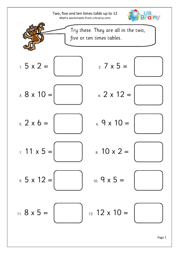 Preview of '2, 5 and 10 times table up to 12'